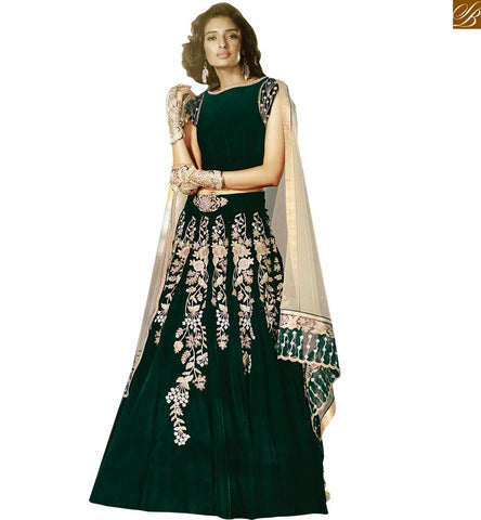 STYLISH BAZAAR ZOYA FEELINGS DESIGNER ROYAL GREEN PARTY WEAR EMBROIDERED FLOOR LENGTH ANARKALI PFFL15001