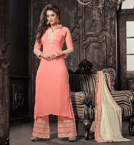 EMBROIDERED PINK STYLISH SALWAR KAMEEZ THESE MODERN SALWAR KAMEEZ DESIGNS COME WITH  CREAMY DUPATTA AND