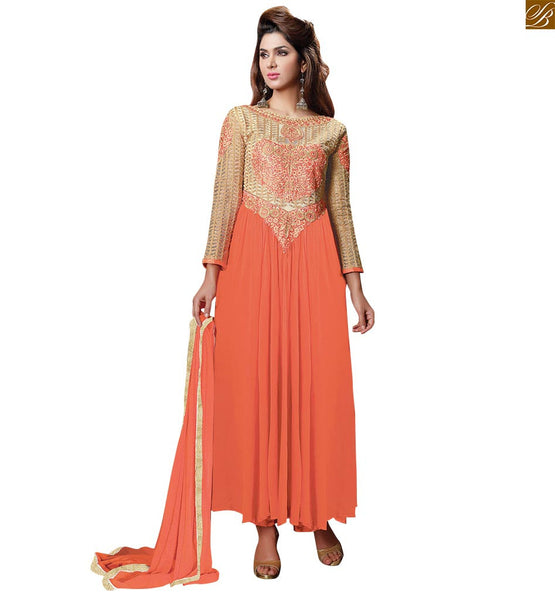 ORANGE COLORED EMBROIDERED LOVELY SALWAR KAMEEZ RTVAI15002