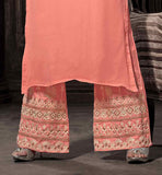 EMBROIDERED PINK STYLISH SALWAR KAMEEZ SHALWAR PANTS STYLE SALWAR SUIT EMBOSSED WITH ZARI
