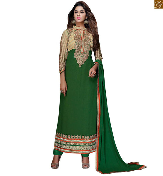 GREEN NET DESIGNER GEORGETTE SALWAR KAMEEZ WITH CREAM COLORED EMBROIDERY