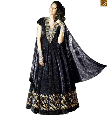 STYLISH BAZAAR INTRODUCES ZOYA FEELINGS MYSTIFYING BLACK HEAVILY EMBROIDERED VELVET ANARKALI  PFFL15004