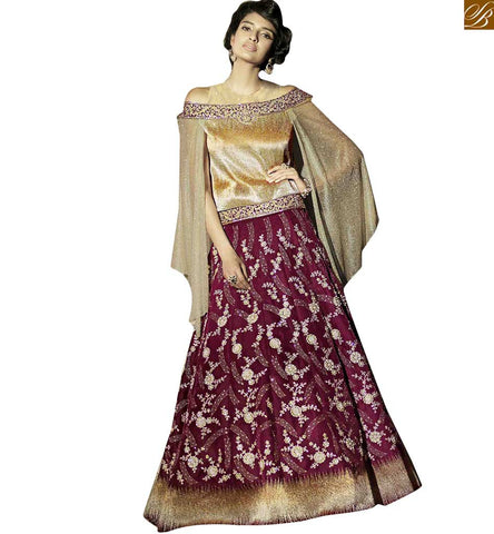 FROM THE HOUSE  OF STYLISH BAZAAR DESIGNER FANCY ZOYA FEELINGS GOLD AND PURPLE ANARKALI DRESS PFFL15005