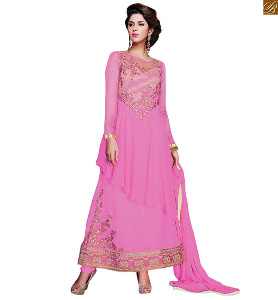 PEPPY PINK COLORED SALWAR KAMEEZ WITH HEAVY ZARI STONE AND RESHAM EMBROIDERY