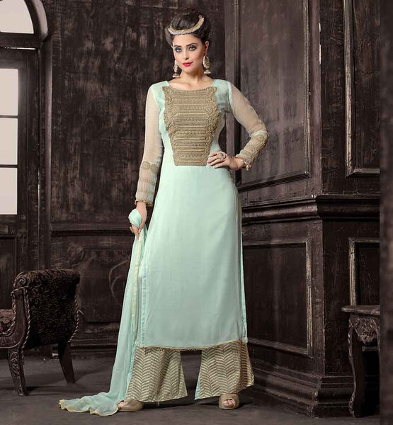 PALAZZO STYLE SALWAR KAMEEZ  BEAUTIFUL BLUE COLOR  TOP PART EMBROIDERY  WORK SALWAR SUIT GIVES YOU RICH LOOK