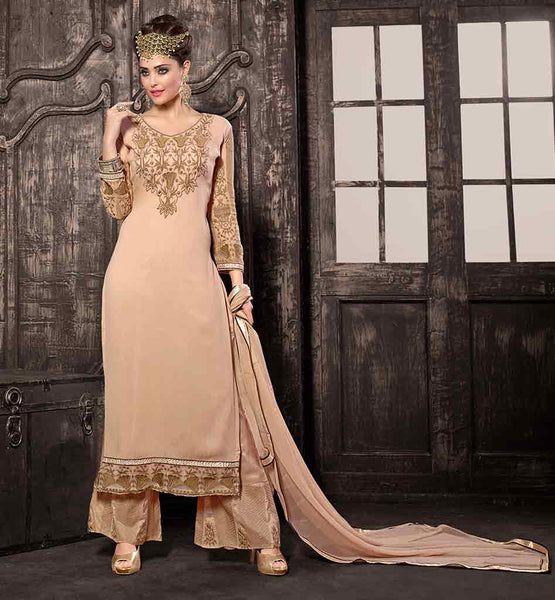 CREAMY EMBROIDERED SALWAR KAMEEZ WITH DUPATTA LOVELY MODERN SALWAR KAMEEZ DESIGNS CONSIST ZARI, EMBROIDERY AND LACE WORK