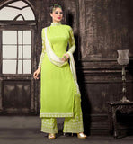 GREEN & OFF WHITE SALWAR KAMIZ WITH DUPATTA THESE STRAIGHT CUT SALWAR KAMEEZ DESIGNS LOOK  DISTINGUISHED  AND THE COLOR COMBINATION FOR SALWAR KAMEEZ IS UNIQUE
