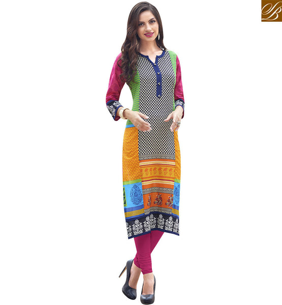 STYLISH BAZAAR BEAUTIFUL MULTI COLOR COTTON DESIGNER LONG KURTI HAVING PATTERNED WORK RTBNT1501