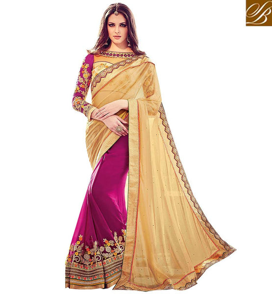 STYLISH BAZAAR PRESENTATION CREAM AND PINK SHADED EMBROIDERED SAREE AND BLOUSE DESIGN RTBLST1501