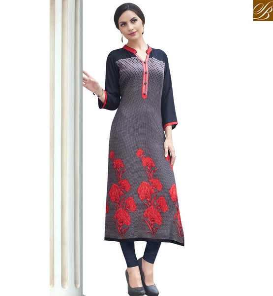 STYLISH BAZAAR WONDERFUL GREY AND BLUE COTTON LONG DESIGNER KURTI WITH PRINTED FLOWRY WORK RTBNT1502