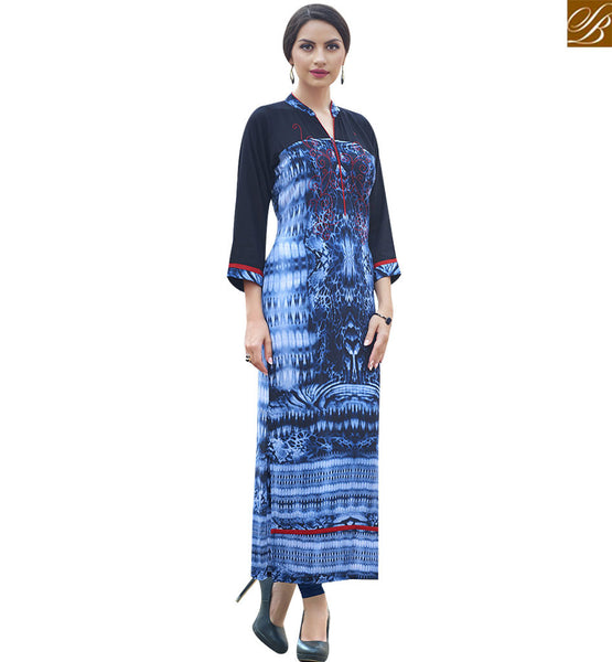 STYLISH BAZAAR BEAUTIFUL BLUE COTTON LONG DESIGNER KURTI HAVING PATTERNED WITH COLLAR NECK RTBNT1504