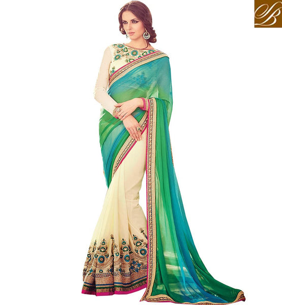 FROM THE HOUSE  OF STYLISH BAZAAR EXTREMELY WELL DESIGNED DESIGNER WEDDING WEAR SARI RTBLST1504