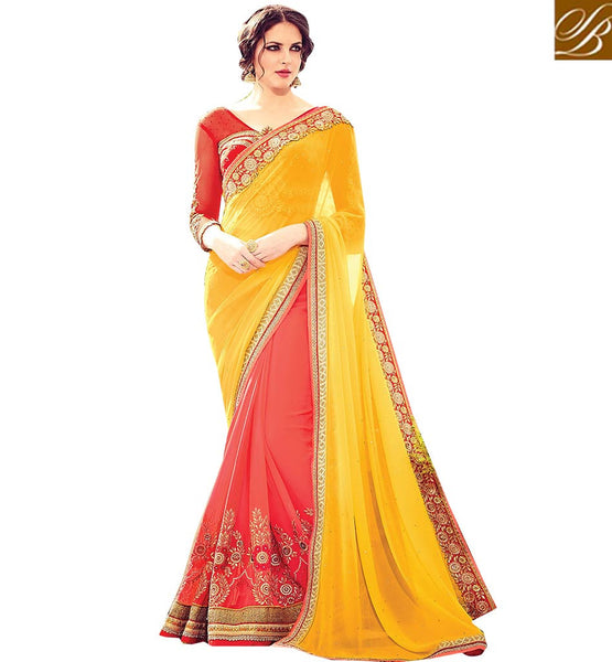 BROUGHT TO YOU BY STYLISH BAZAAR FASCINATING BRIGHTLY DECORATED SAREE AND BLOUSE DESIGN RTBLST1505