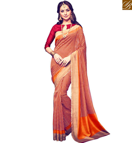 LOVELY DESIGNER PRINTED SARI PATTERN RTMLD1506A BY ORANGE & MAROON