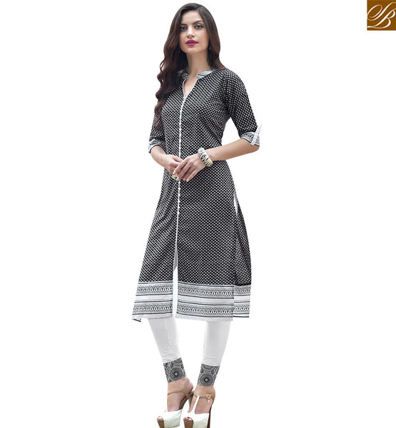 STYLISH BAZAAR AMAZING BLACK COTTON LONG DESIGNER PRINTED KURTI HAVING GORGEOUS STYLE RTBNT1506