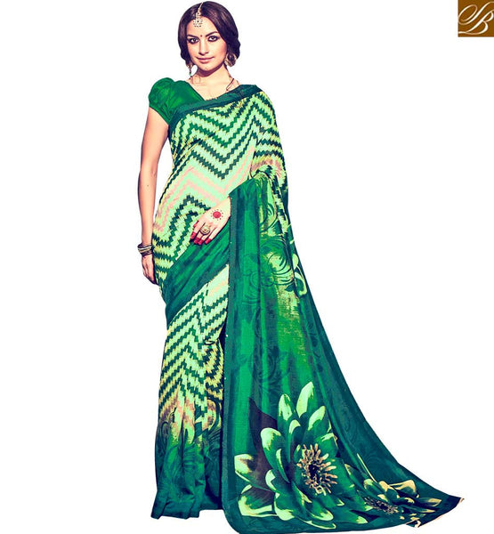 MAGNIFICENT DESIGNER PRINTED SAREE DESIGN RTMLD1507A BY GREEN