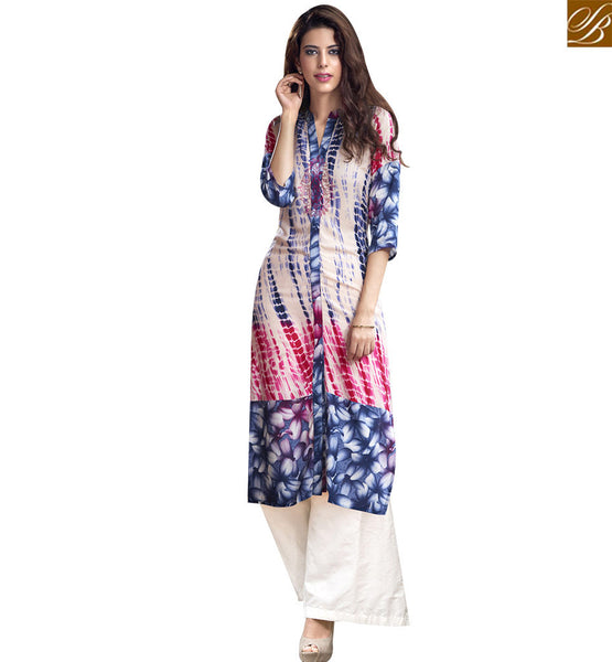 STYLISH BAZAAR DAZZLING MULTI COLOR COTTON LONG DESIGNER KURTI WITH BEAUTIFUL PRINTED WORK RTBNT1508