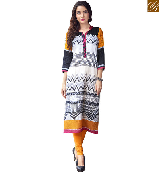 STYLISH BAZAAR IMPRESSIVE MULTI COLOR COTTON PRINTED LONG DESIGNER KURTI WITH COLLAR NECK RTBNT1509
