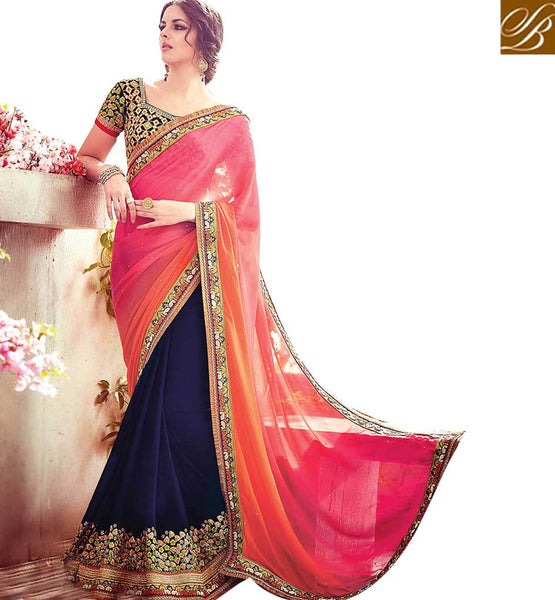 A STYLISH BAZAAR PRESENTATION REMARKABLE DESIGNER BRIDAL WEAR SAREE RTBLST1509