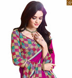 LOVELY DIGITAL PRINT SAREE BLOUSE RTDIL15112 PINK+CREAM