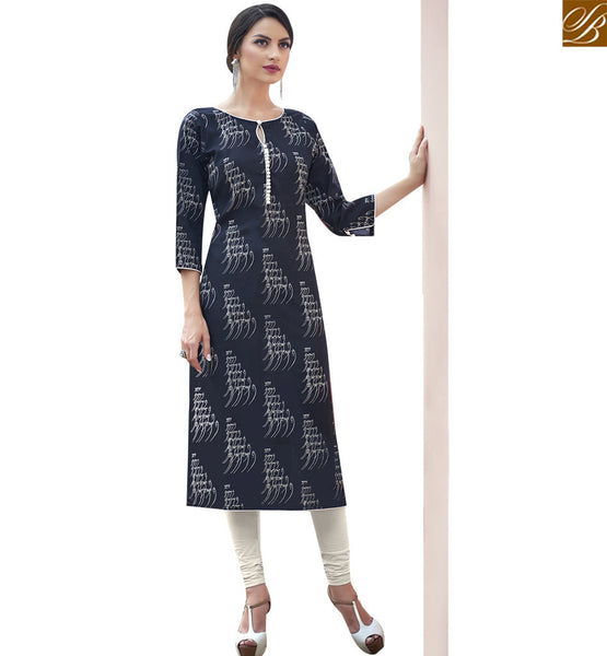 STYLISH BAZAAR BLOOMING BLACK COTTON LONG DESIGNER KURTI WITH OUTSTANDING PATTERN RTBNT1511