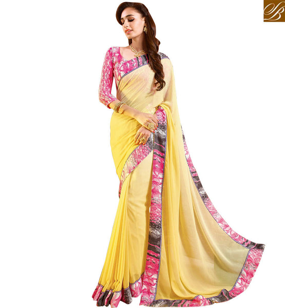 STUNNING PRINTED SAREE BLOUSE DESIGN RTDIL15120  YELLOW