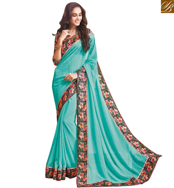 A STYLISH BAZAAR PRESENTATION LOVELY FLORAL PRINT BLOUSE AND SAREE BORDER RTDIL15122