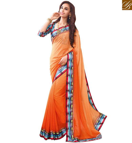 STYLISH BAZAAR BRIGHT ORANGE SAREE WITH A MULTI COLORED BLOUSE RTDIL15124