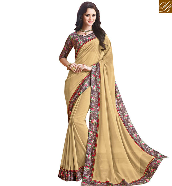 STYLISH BAZAAR DAZZLING CREAM SARI WITH FLOWER-PATTERN PRINT BLOUSE RTDIL15125