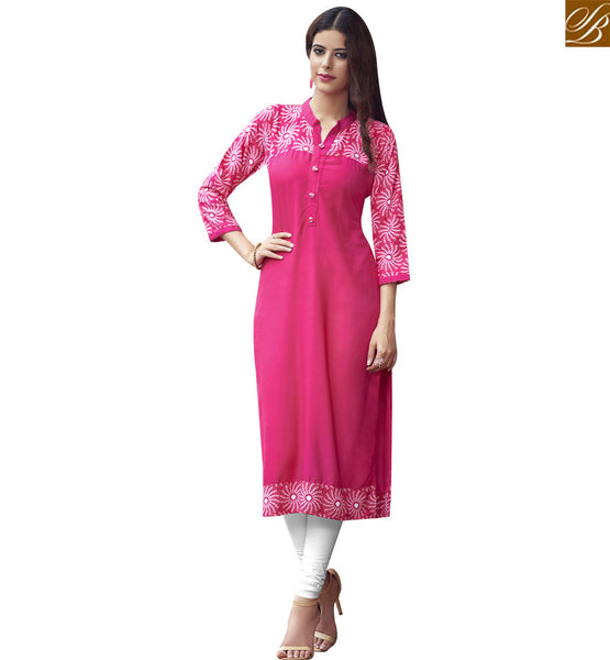STYLISH BAZAAR INVITING PINK COTTON LONG DESIGNER KURTI HAVING PLEASANT LOOK WITH GLIMPSE OF STYLE RTBNT1512