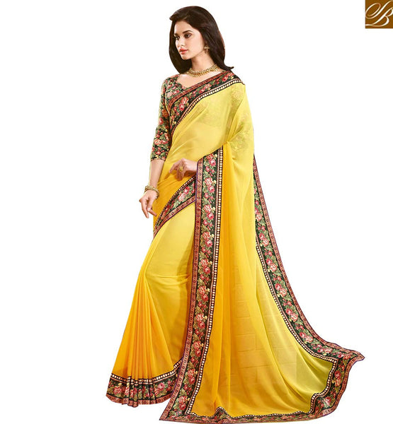 BROUGHT TO YOU BY STYLISH BAZAAR IMPRESSIVE DECORATIVE FLOWERY PRINT SAREE AND BLOUSE RTDIL15130