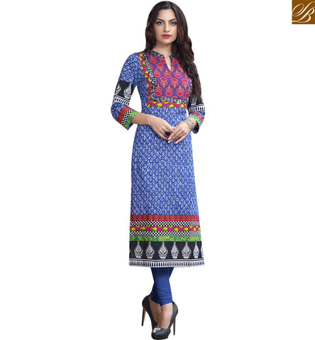 STYLISH BAZAAR IMAGINATIVE BLUE COTTON LONG DESIGNER KURTI HAVING STYLISH PRINT RTBNT1513