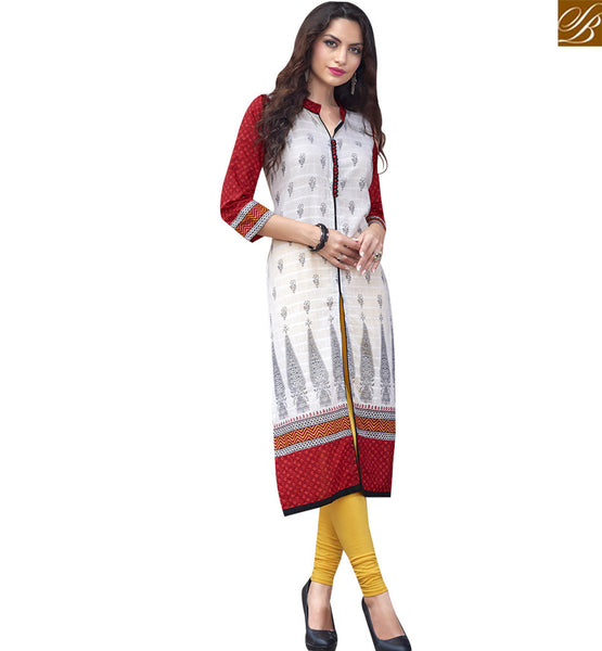 STYLISH BAZAAR DELIGHTFUL CREAM AND RED COTTON LONG DESIGNER KURTI WITH SLIT CUT RTBNT1514