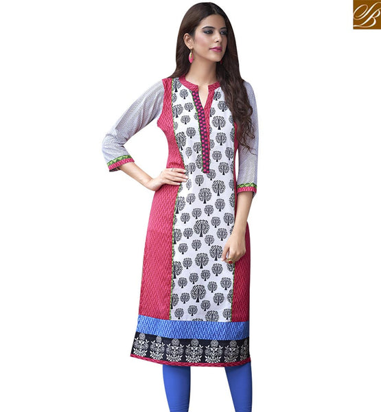 STYLISH BAZAAR APPRECIATING WHITE AND PINK COTTON LONG DESIGNER KURTI WITH MODERN STYLE RTBNT1515