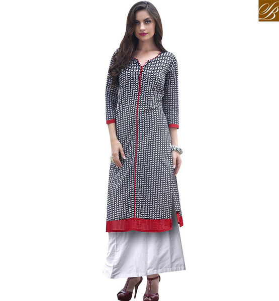 STYLISH BAZAAR CHARMING BLACK COTTON LONG DESIGNER KURTI HAVING WELL PATTERNED RTBNT1516