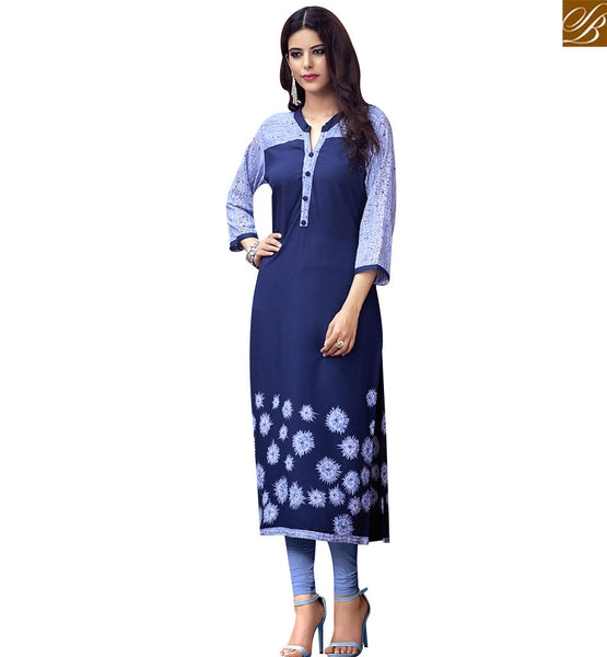 STYLISH BAZAAR PROFUSE BLUE COTTON LONG DESIGNER KURTI HAVING FLOWERY PRINT RTBNT1518