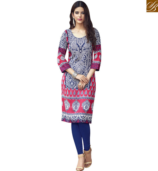 STYLISH BAZAAR LUXURIANT BLUE AND PINK DESIGNER KURTI WITH EXCELLENT PRINTED WORK RTBNT1519