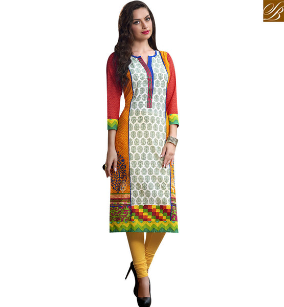 STYLISH BAZAAR GRATIFYING ORANGE AND CREAM COTTON LONG DESIGNER KURTI WITH LOVELY PRINT RTBNT1521