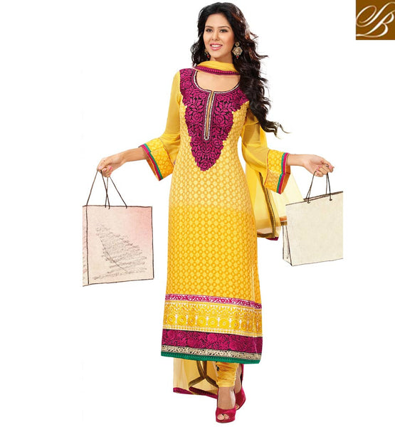 YELLOW PURE GEORGETTE DRESS MATERIAL RTUNI1521