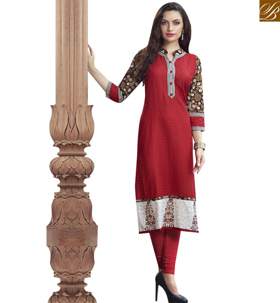 STYLISH BAZAAR GRACEFUL MAROON COTTON LONG DESIGNER KURTI WITH CHINESE COLLAR NECK RTBNT1523