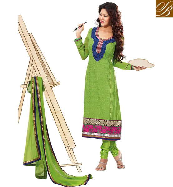 GREEN PURE GEORGETTE DRESS MATERIAL RTUNI1523