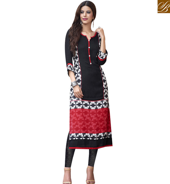 STYLISH BAZAAR ASTOUNDING BLACK COTTON LONG DESIGNER WITH AGREEABLE PRINT RTBNT1524