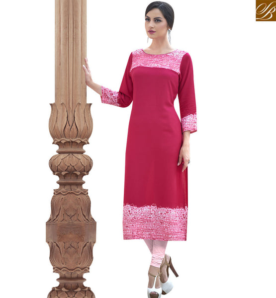 STYLISH BAZAAR PHENOMINAL MAROON COTTON LONG DESIGNER KURTI WITH LOVELY PINK SHADE RTBNT1525