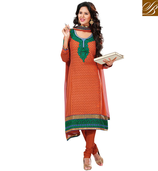 BROWN PURE GEORGETTE DRESS MATERIAL RTUNI1525