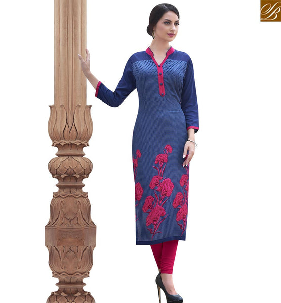 STYLISH BAZAAR ENTICING BLUE COTTON LONG DESIGNER KURTI HAVING ENCHANTING FLOWERY PRINT RTBNT1526