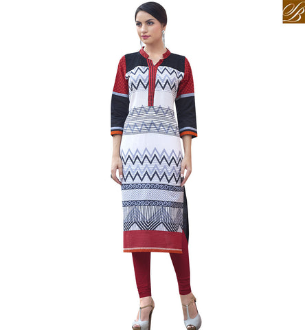 STYLISH BAZAAR STUNNING CREAM AND BLACK COTTON LONG DESIGNER KURTI HAVING FABULOUS LOOK RTBNT1527