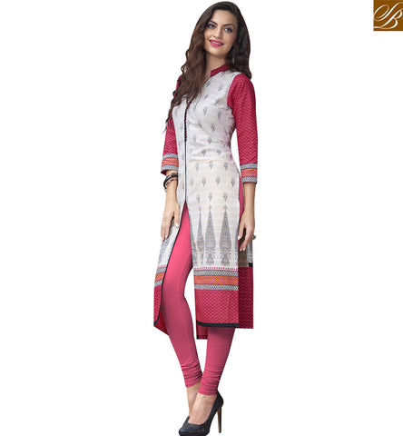 STYLISH BAZAAR FASCINATING CREAM AND PINK COTTON DESIGNER KURTI HAVING SLIT CUT STYLE RTBNT1528