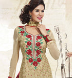 CREAM PURE GEORGETTE DRESS MATERIAL RTUNI1529