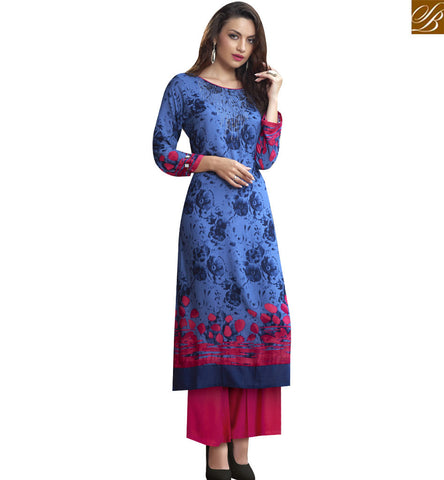 STYLISH BAZAAR APPEALING BLUE COTTON LONG DESIGNER KURTI HAVING MARVELLOUS PRINT RTBNT1529