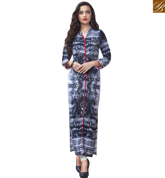 STYLISH BAZAAR UNIMAGINABLE GREY COTTON LONG DESIGNER KURTI HAVING WONDERFUL PRINT RTBNT1530